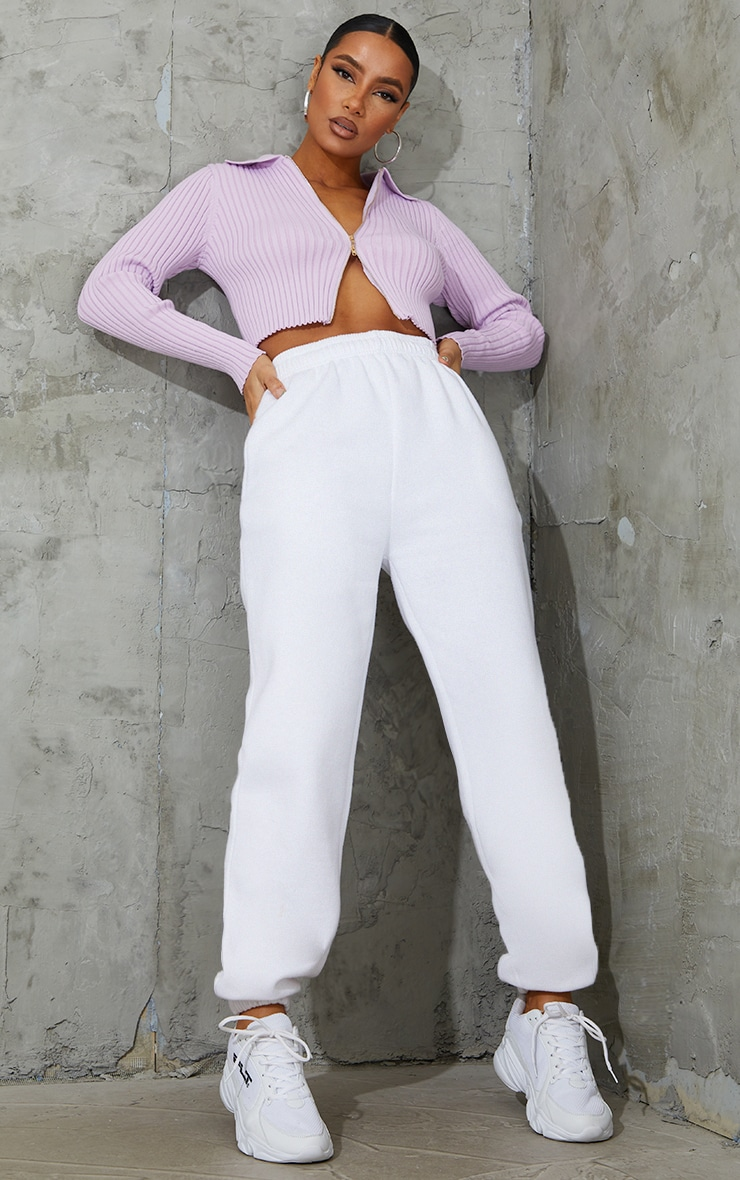 Lilac Double Zipped Knitted Crop Top 3