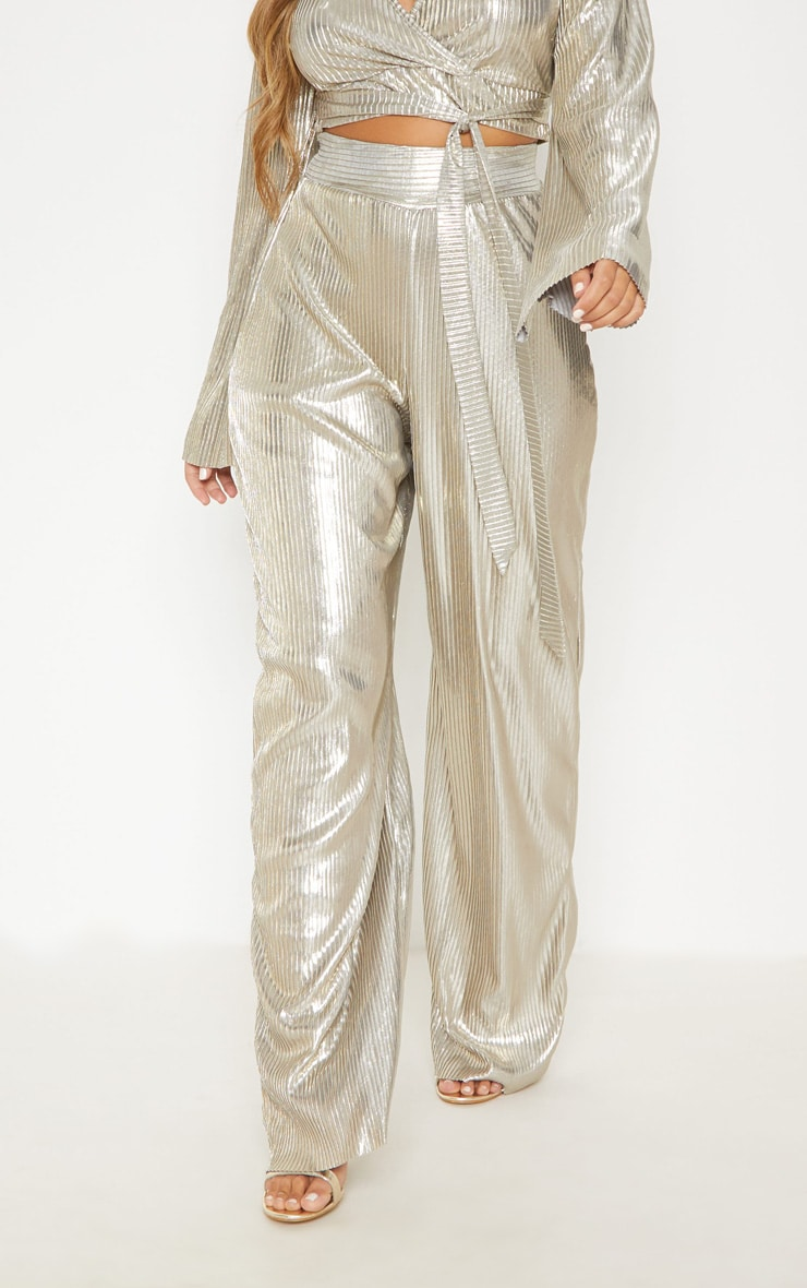Gold Metallic Pleated Wide Leg Pants 3