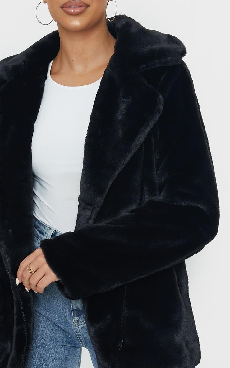 Black Soft Faux Fur Biker Jacket 4