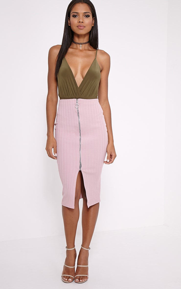 Kaya Mauve Ribbed Zip Front Midi Skirt 1