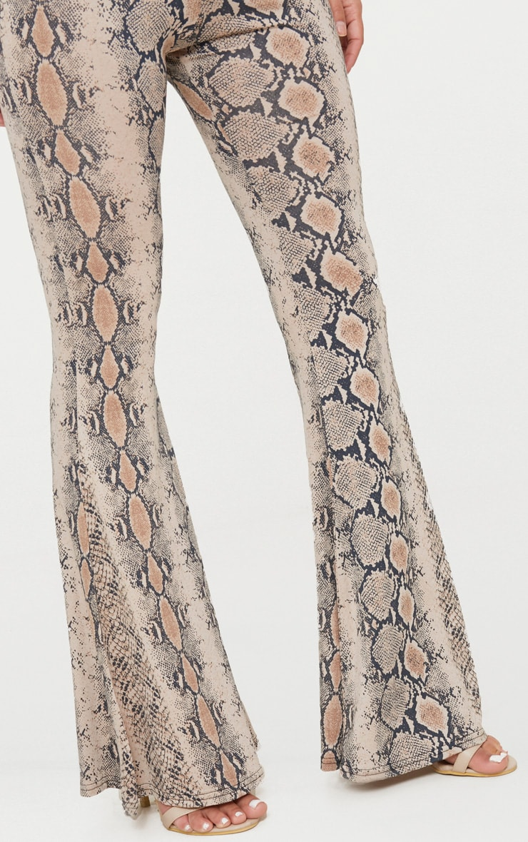 Petite Stone Snake Print Flared Trousers 4