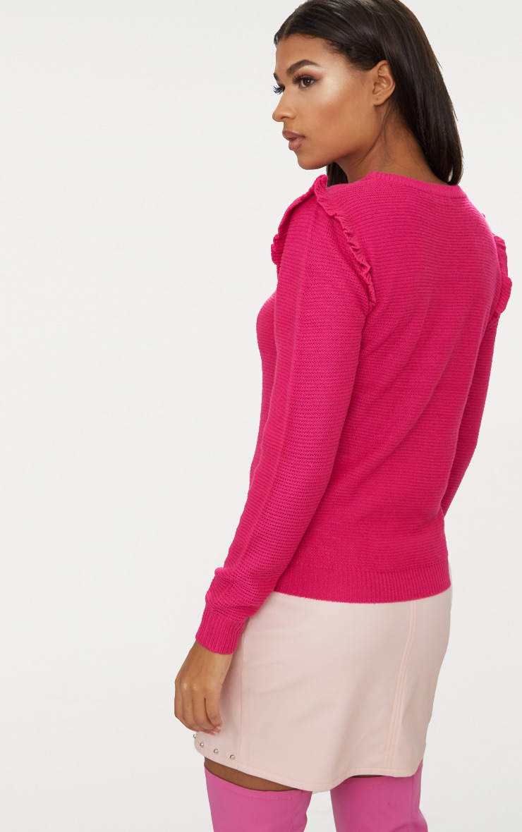 Hot Pink Frill Shoulder Jumper 2