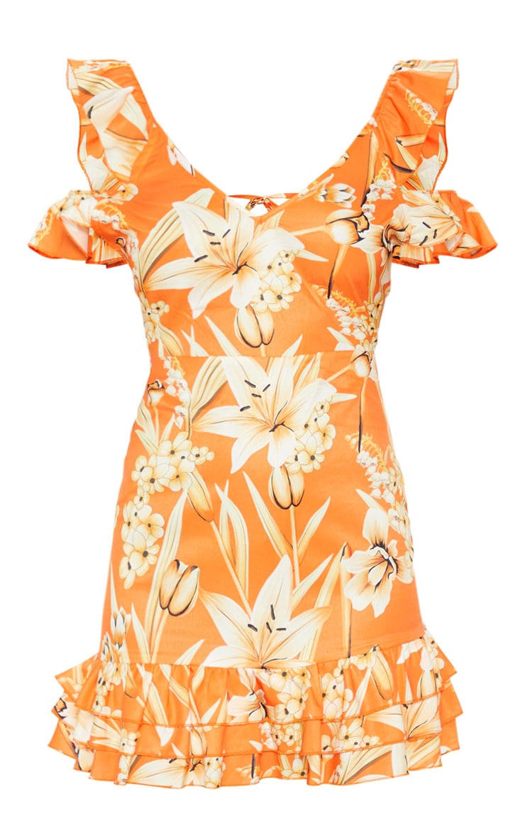 Orange Leaf Print Tie Back Shift Dress 3