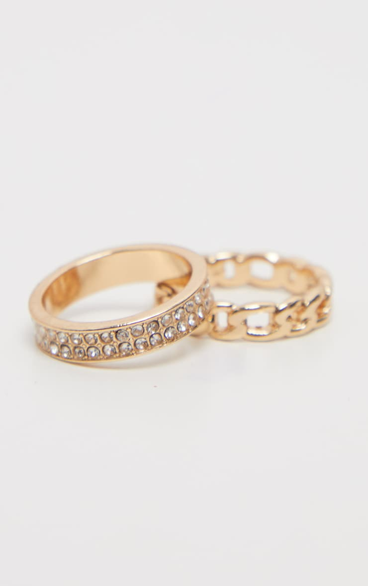 Gold Diamante And Chain Two Pack Rings 1