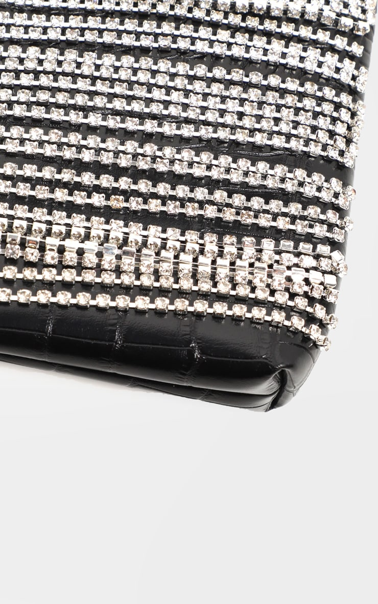 Black Croc Diamante Fringe Shoulder Bag 3