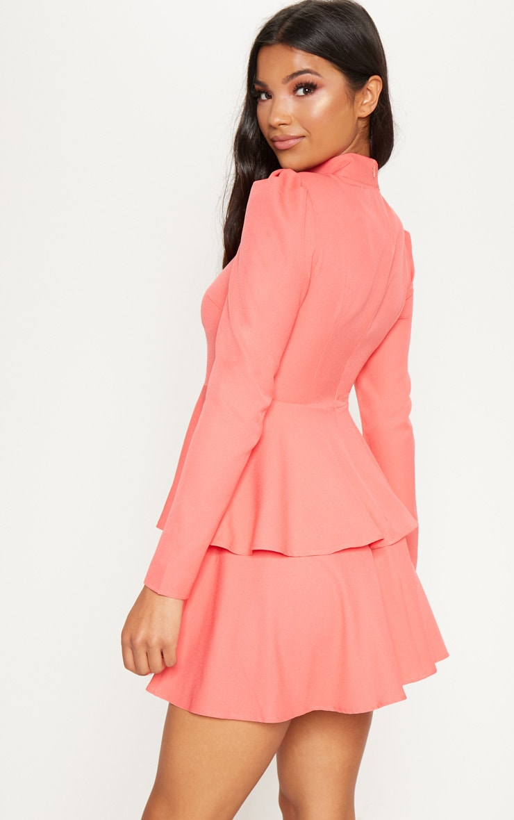 Coral High Neck Tiered Skater Dress 2