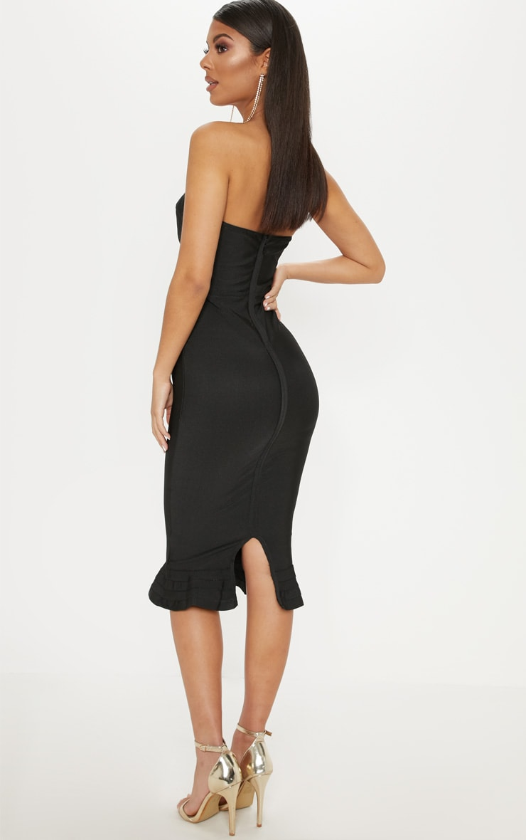 Black Frill Hem Bandage Midi Dress 2