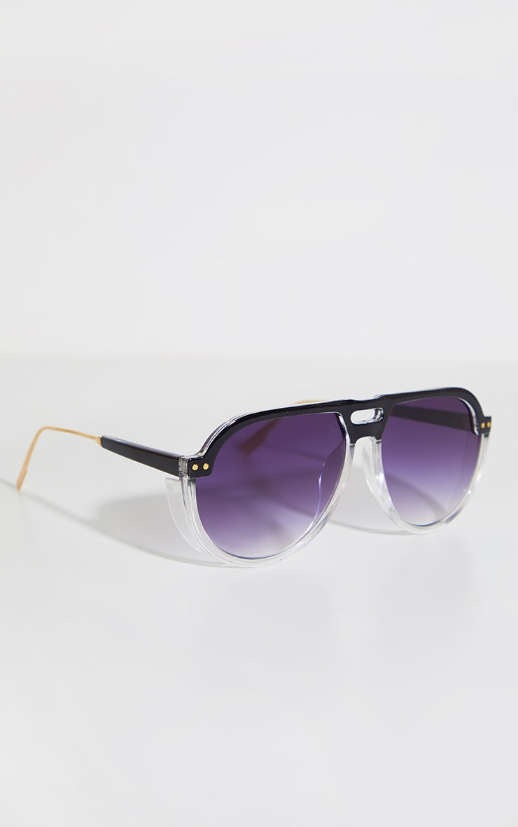 Black Ombre Double Bar Round Frame Sunglasses 5