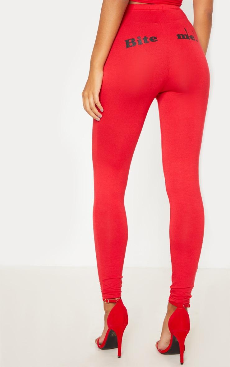 Red 'Bite Me' Printed Legging 5