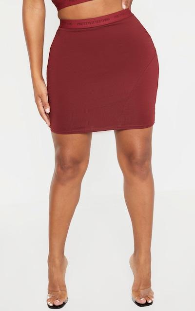 PRETTYLITTLETHING Shape Burgundy Band Bodycon Skirt