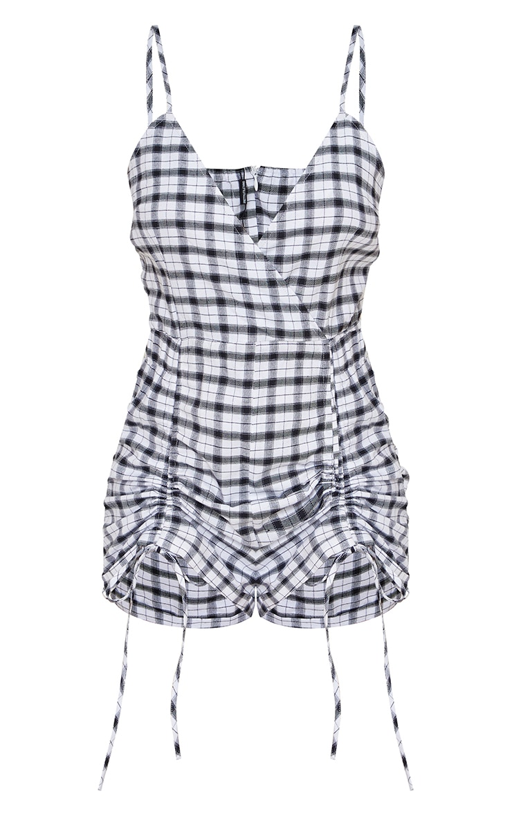 Monochrome Check Print Strappy Ruched Detail Playsuit 5