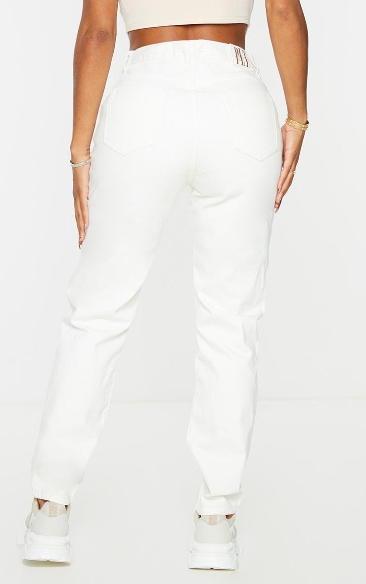 PRETTYLITTLETHING Shape Ecru V Front Waistband Straight Leg Jeans 3