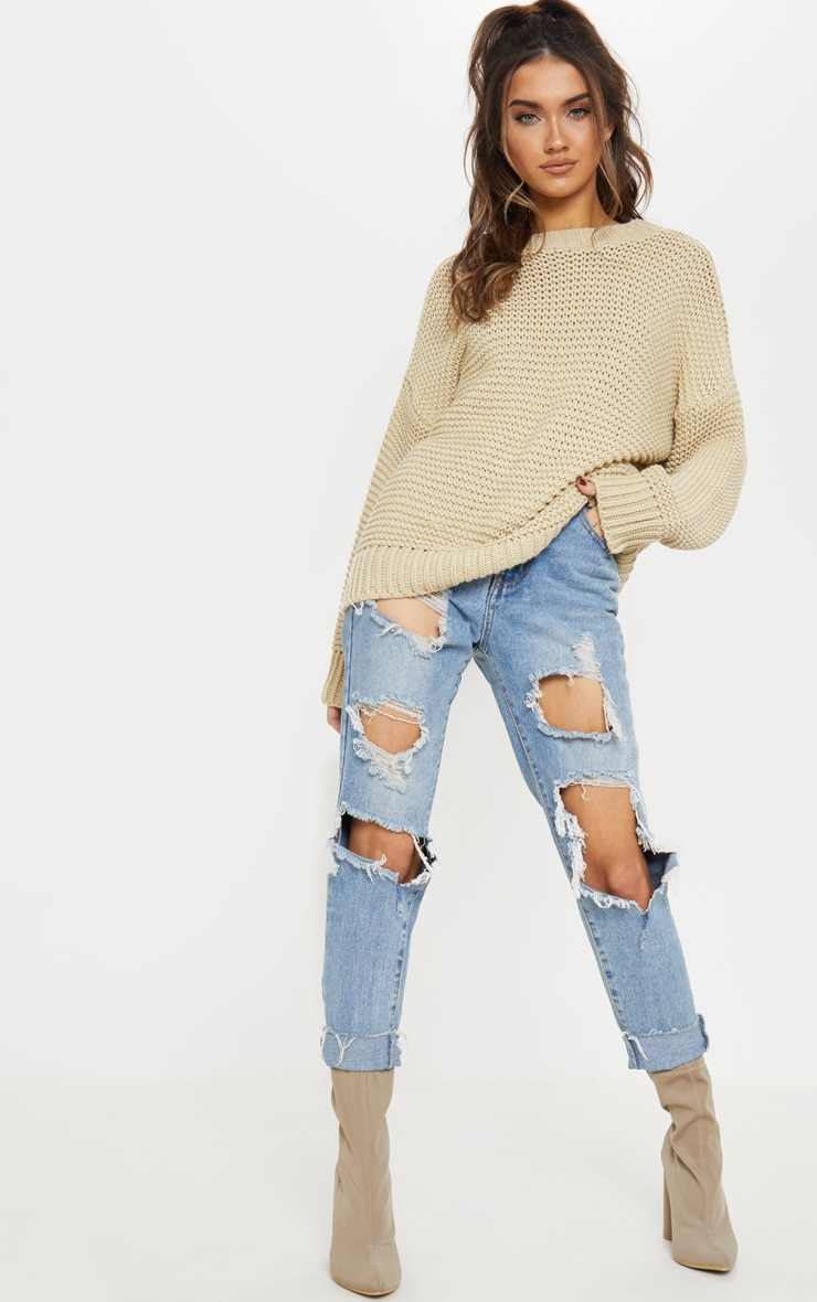 Stone Chunky Knitted Jumper