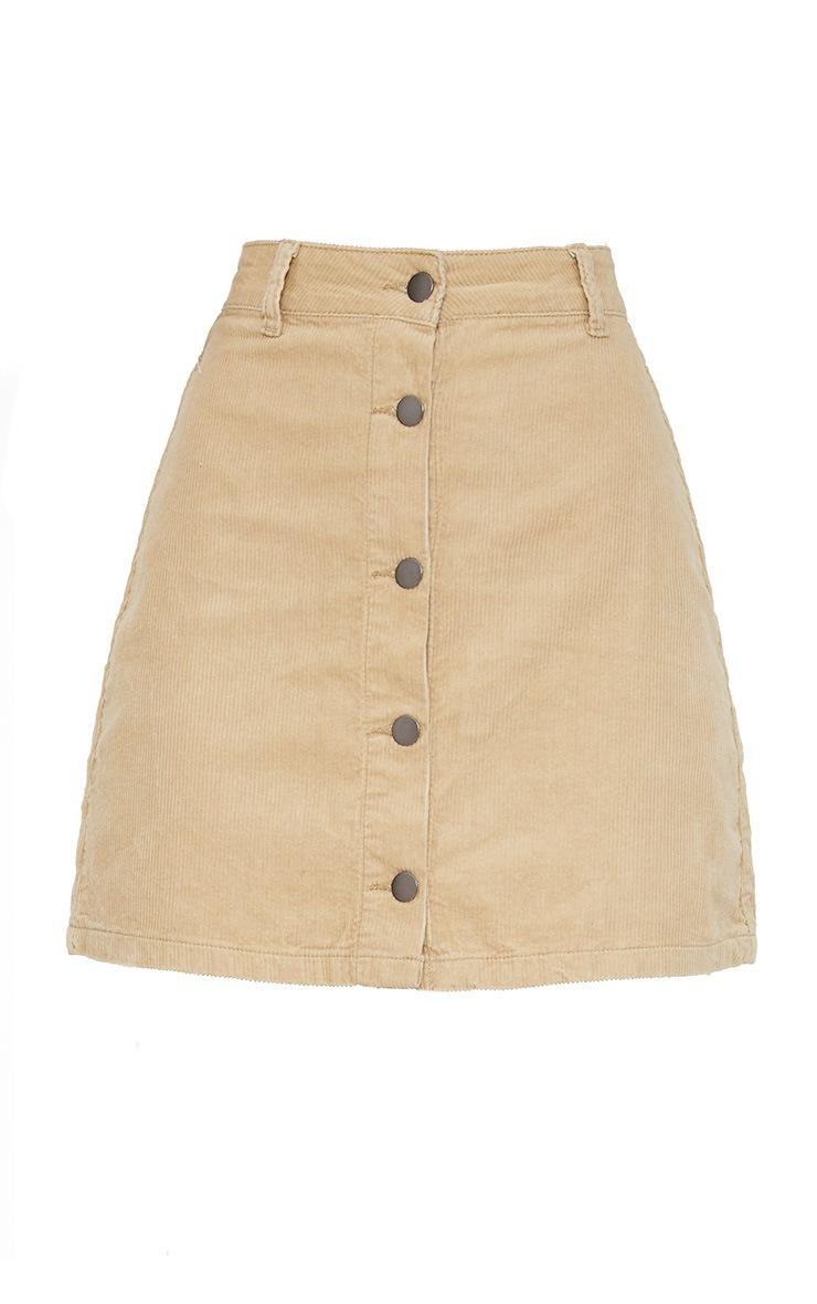 Stone Cord Button Down Denim Skirt 3