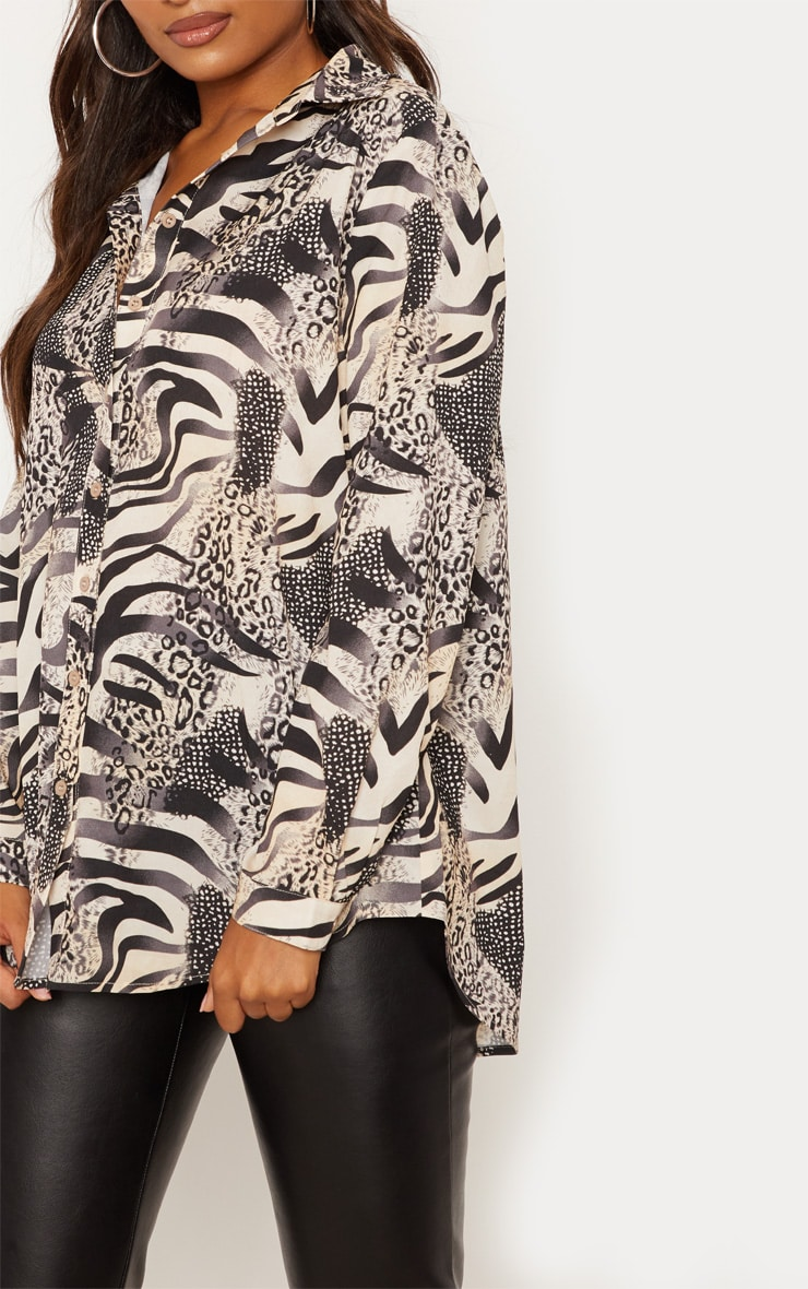 Grey Animal Print Oversized Shirt 5