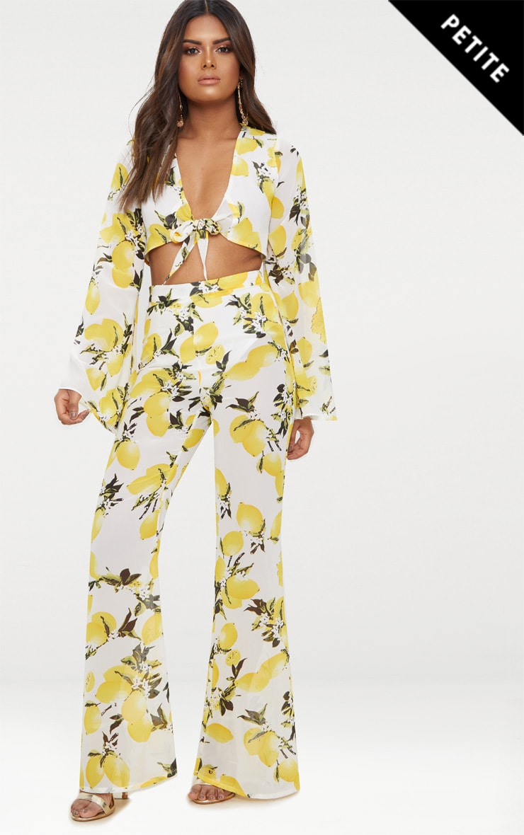 Petite White Chiffon Lemon Print Wide Leg Trousers 1