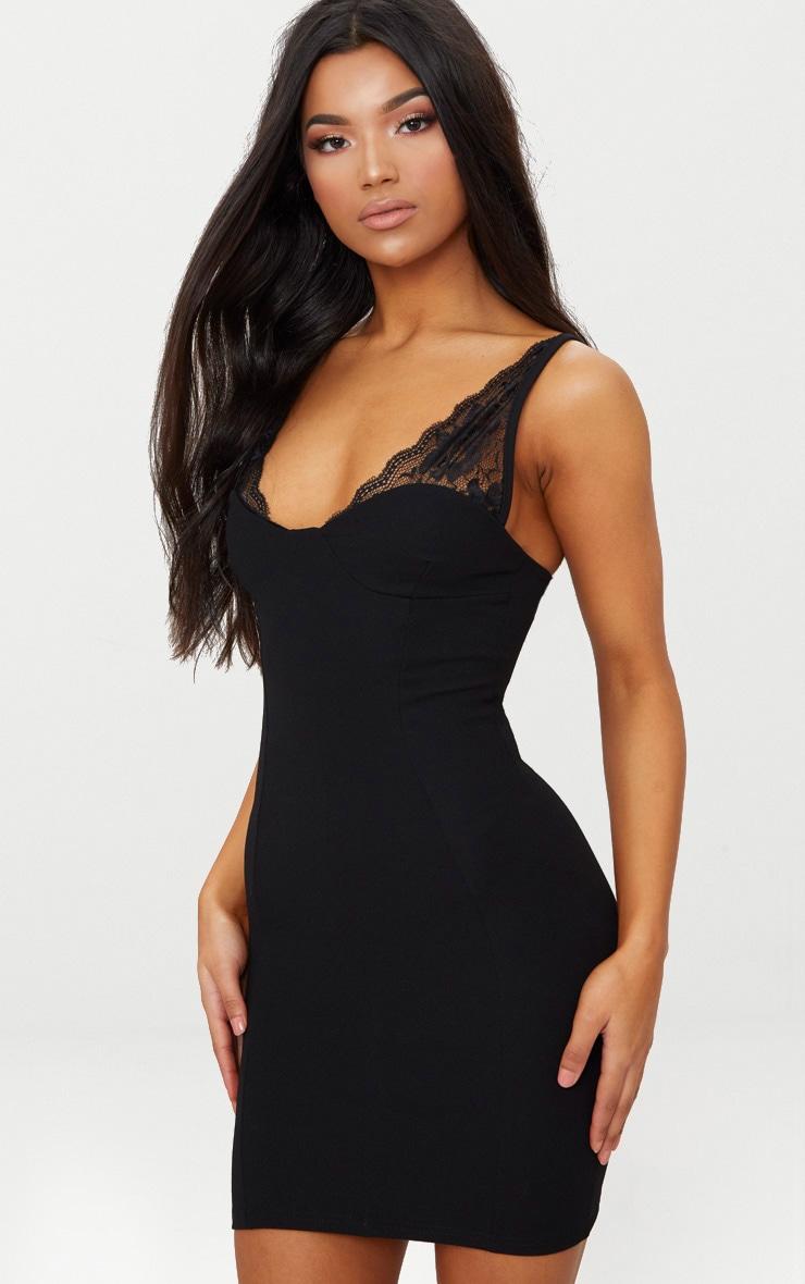 Black Lace Strap Panelled Detail Bodycon Dress 1