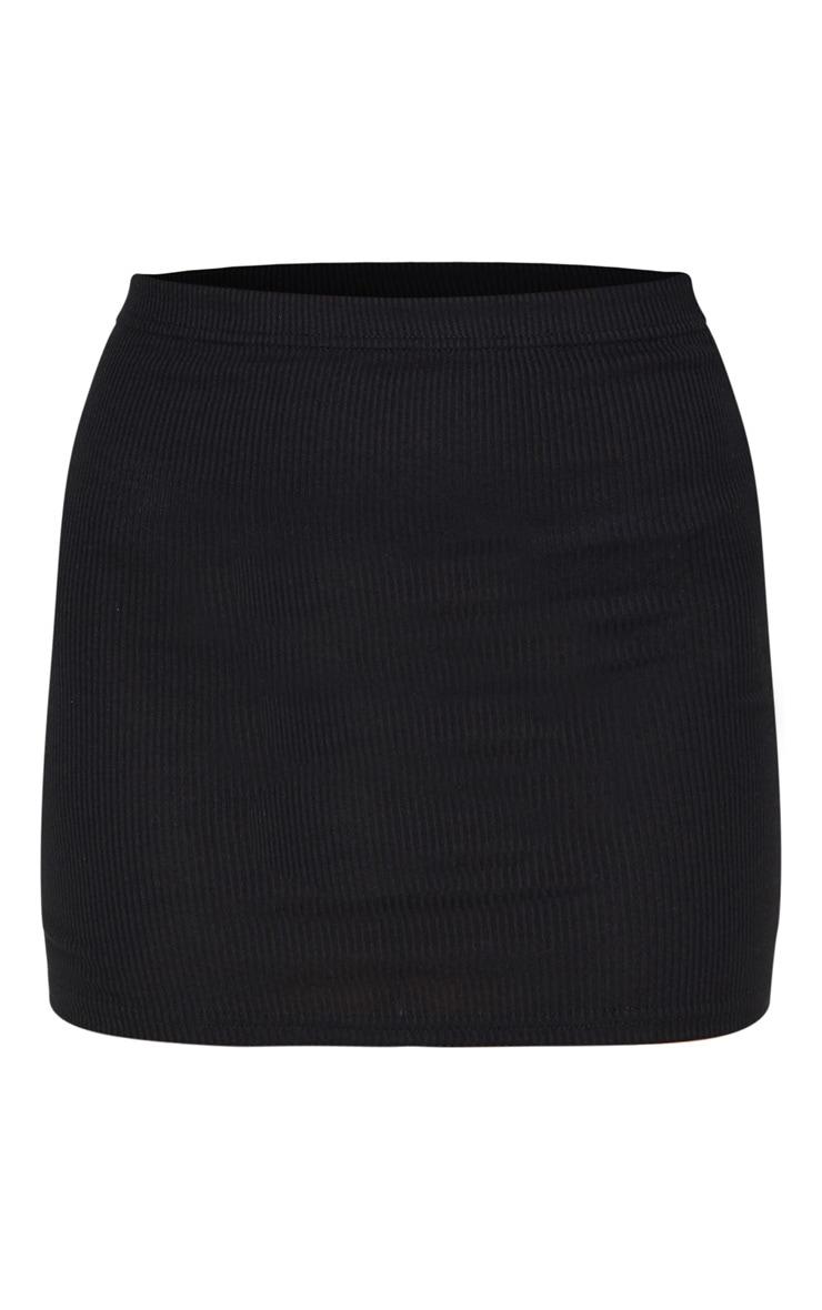 Black Ribbed Mini Skirt 6