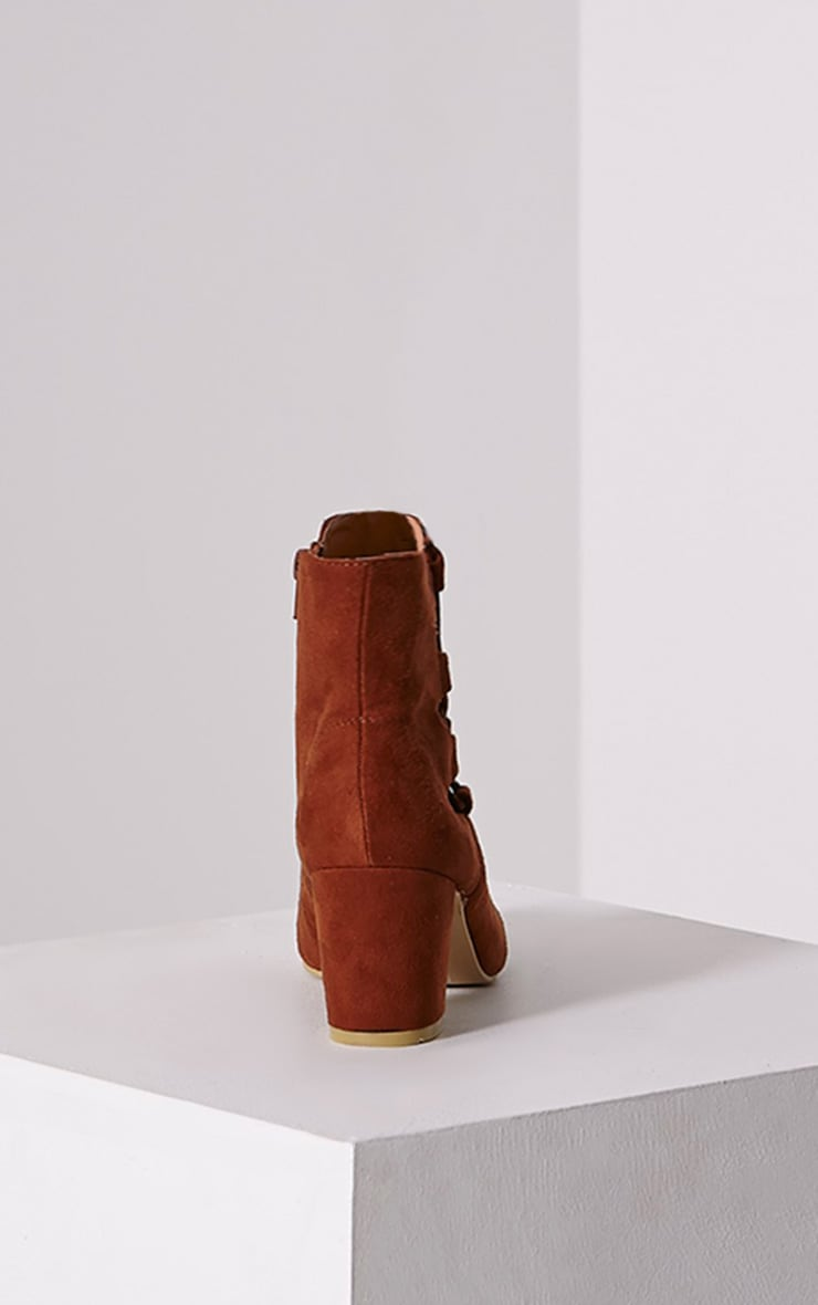 Genevieve Tan Lace Up Side Heel Ankle Boots 4