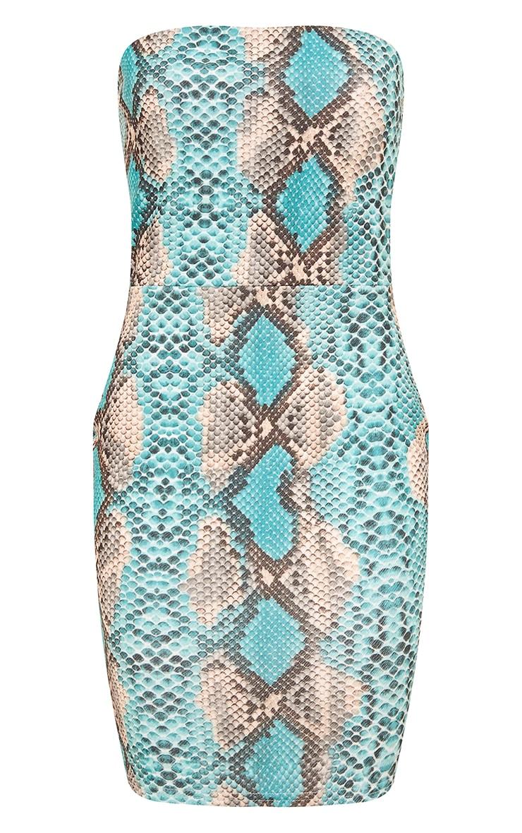Kaddy robe bandeau moulante peau de serpent turquoise 5