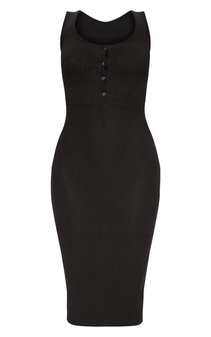 Black Brushed Rib Popper Front Midi Dress 3