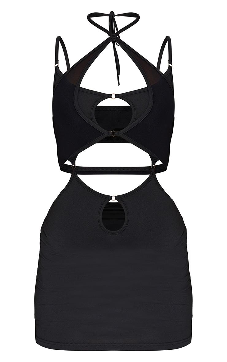 Black Strappy Mesh Detail Cut Out Bodycon Dress 5