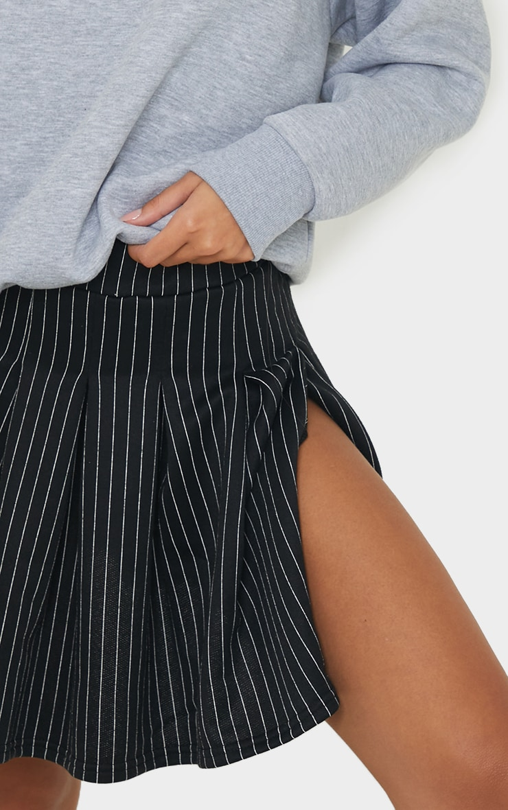 Black Pinstripe Pleated Skater Skirt 5