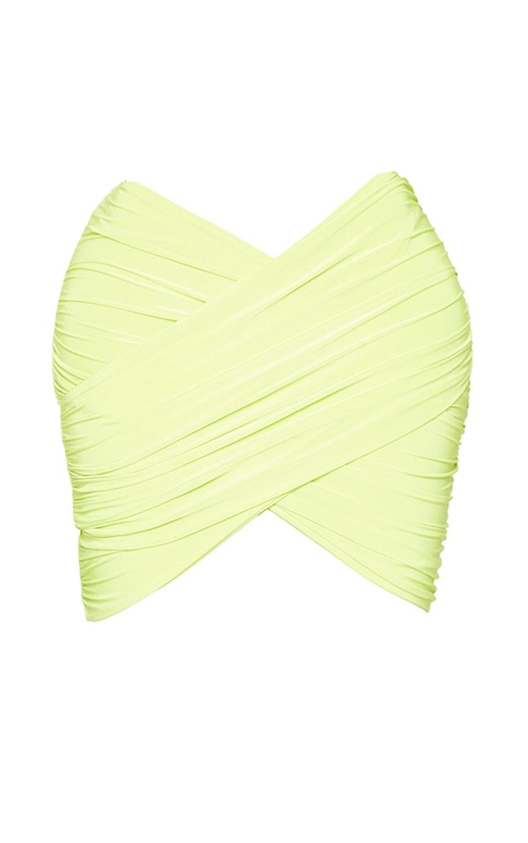 Shape Lime Slinky Wrap Detail Bodycon Skirt 6