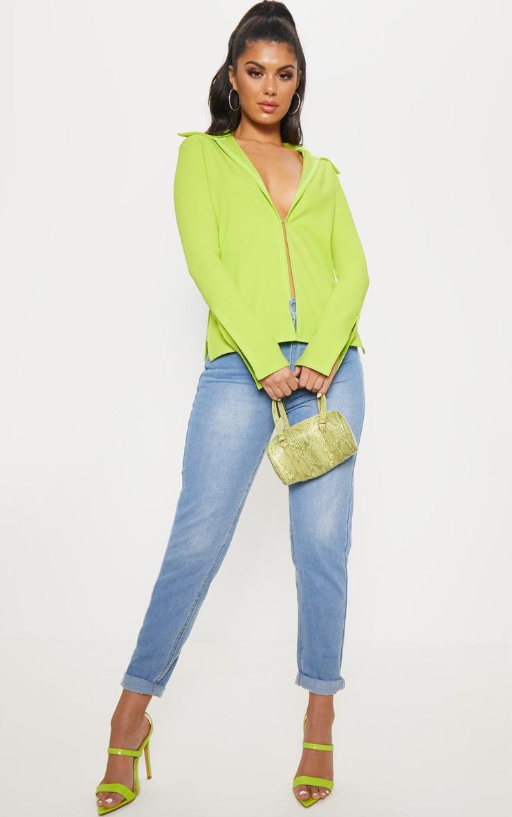 Lime Crepe Hook Front Oversized Shirt 4