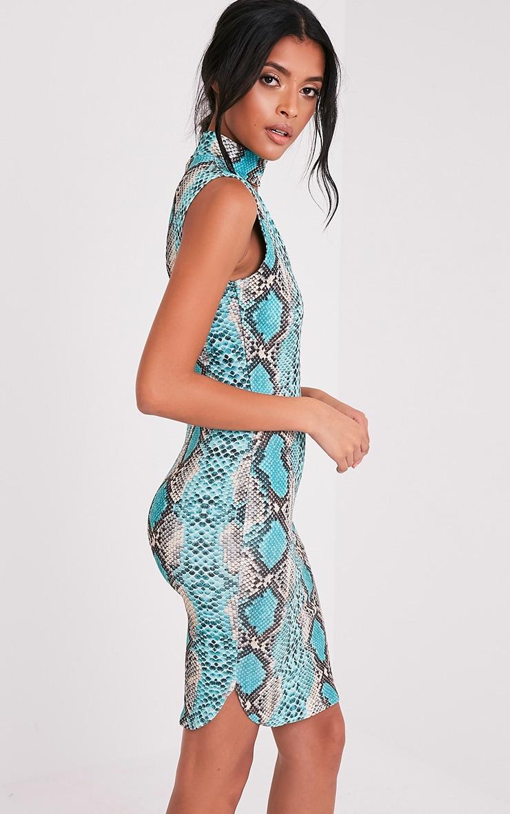 Harria Turquoise Snake Print Choker Detail Bodycon Dress 4