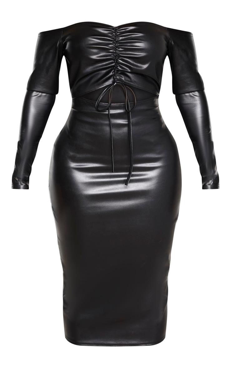 Shape - Robe mi-longue noire découpée en similicuir à col bateau et fronces devant  3