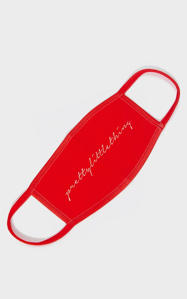 PRETTYLITTLETHING Red Calligraphy Fashion Mask 1