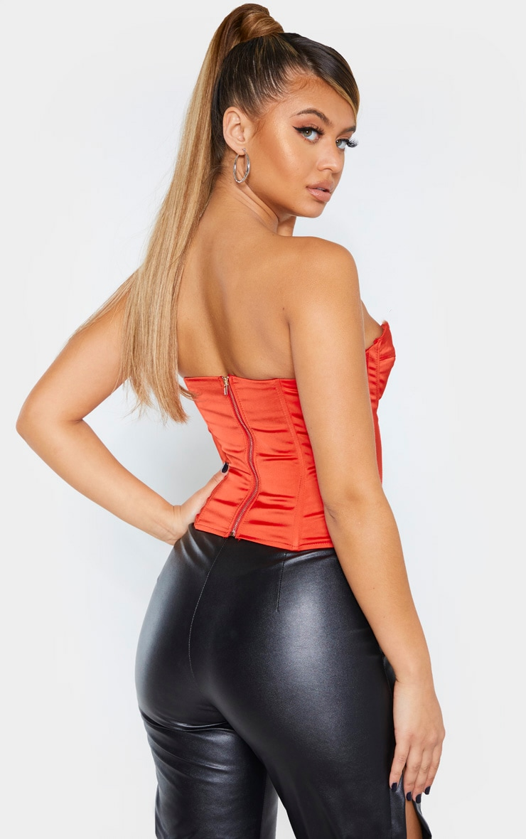 Red Satin Structured Bust Detail Corset Top 2