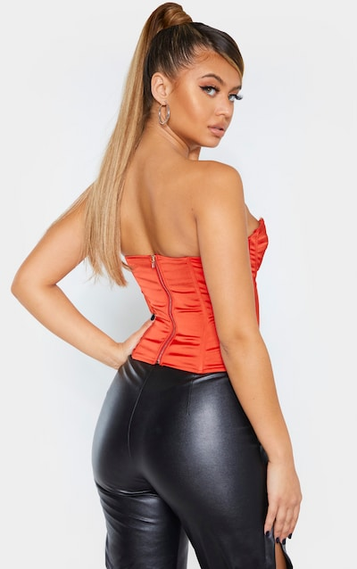 Red Satin Structured Bust Detail Corset Top