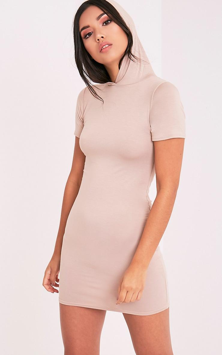 Ruby Nude Jersey Hooded Short Sleeve Bodycon Dress