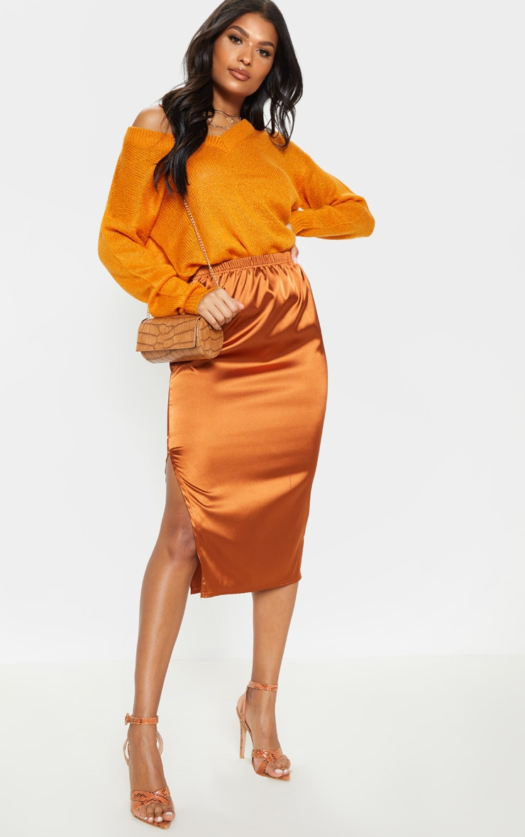 Burnt Orange Satin Side Split Midi Skirt 1