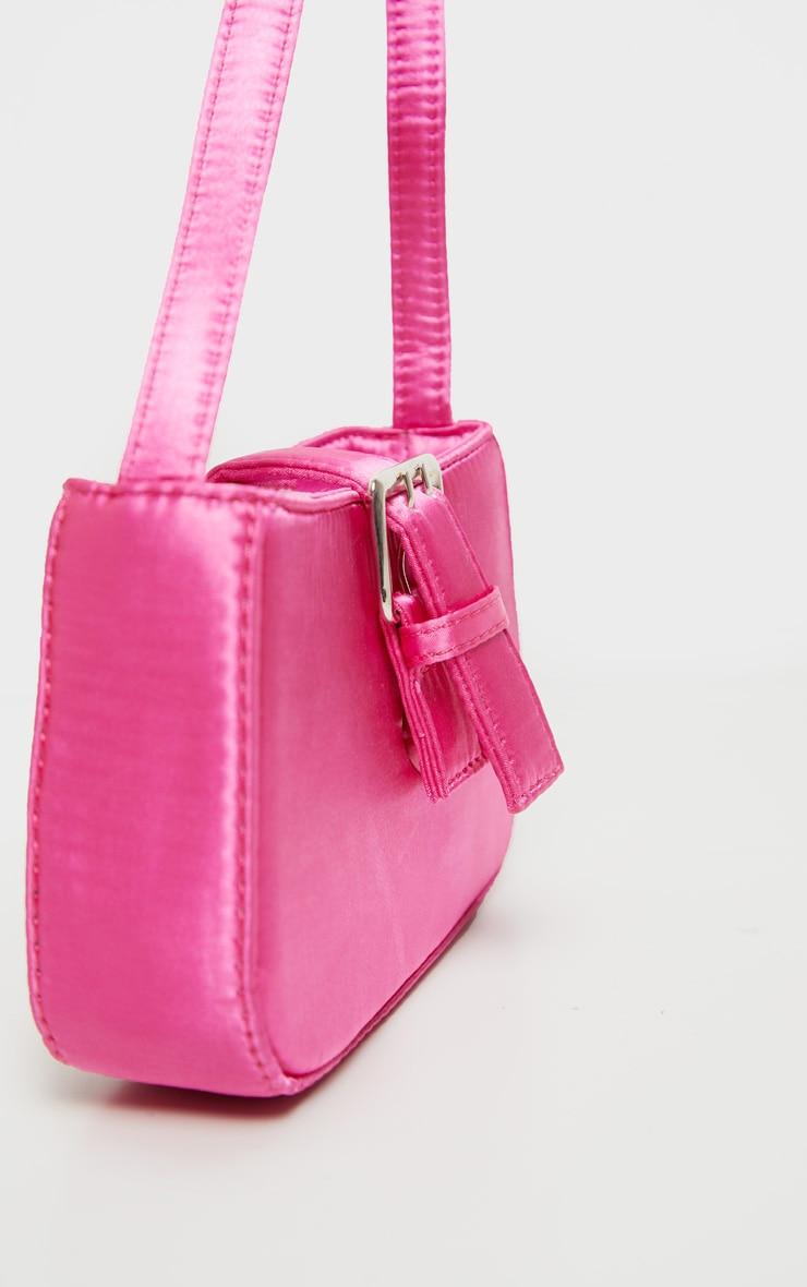 Pink Satin Buckle Front Shoulder Bag 3