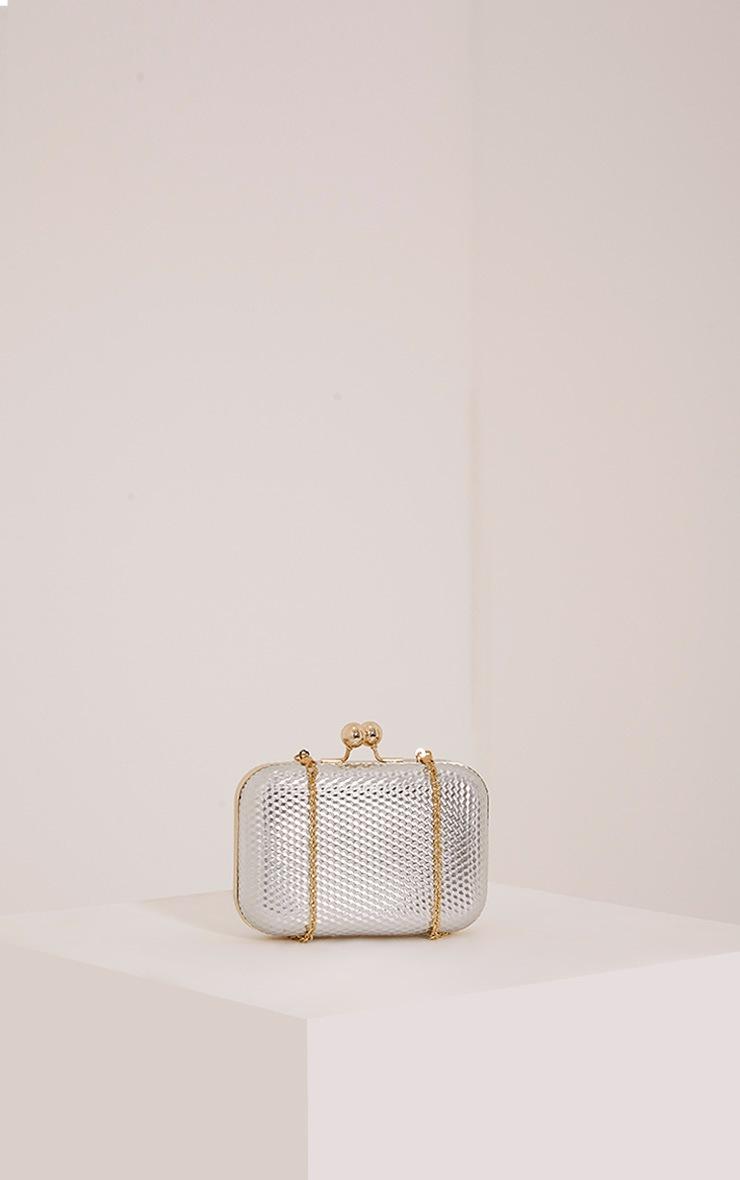 Morgan Silver Box Clutch Bag 3