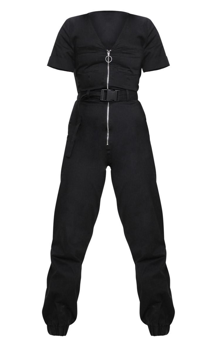 Petite - Combinaison cargo noire à zipper 3