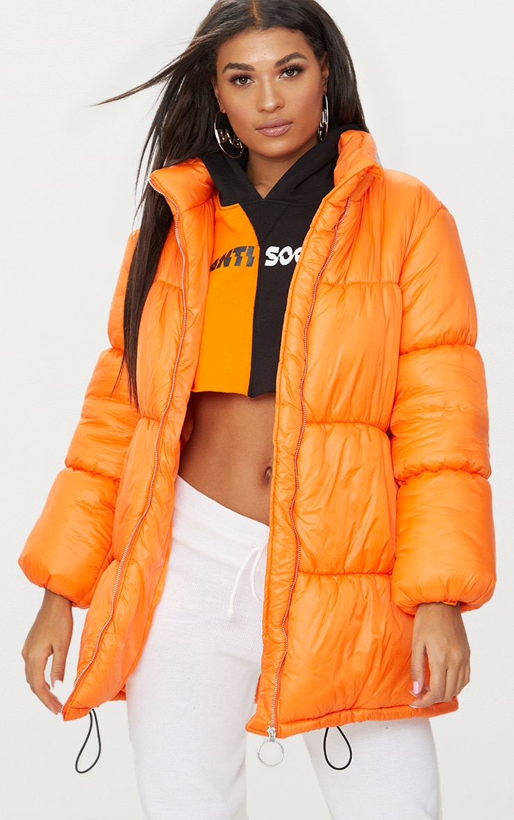 Orange Ring Pull Longline Puffer Jacket 1