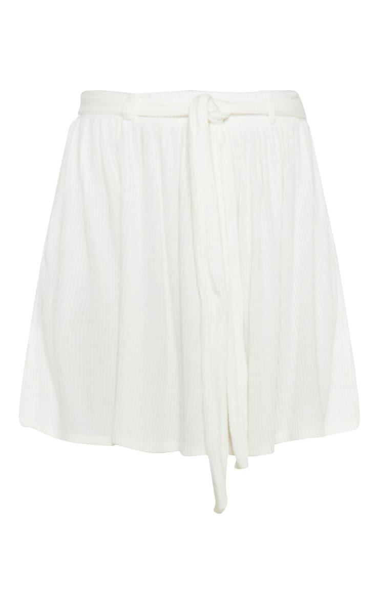 Cream Brushed Rib Tie Waist Skater Skirt 3