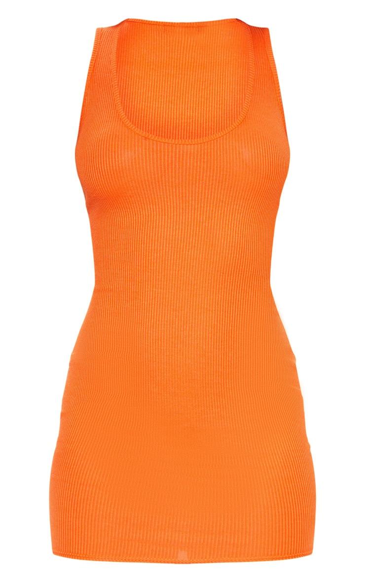 Bright Orange Ribbed Scoop Neck Bodycon Dress 3