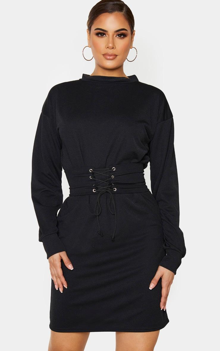 Tall Black Corset Detail Crepe Oversized Jumper Dress 1