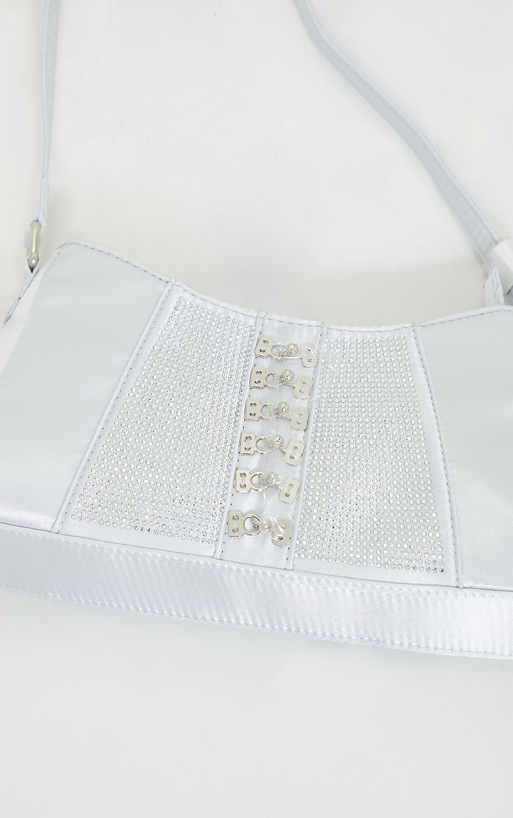 Silver Diamante Buckle Front Shoulder Bag 3