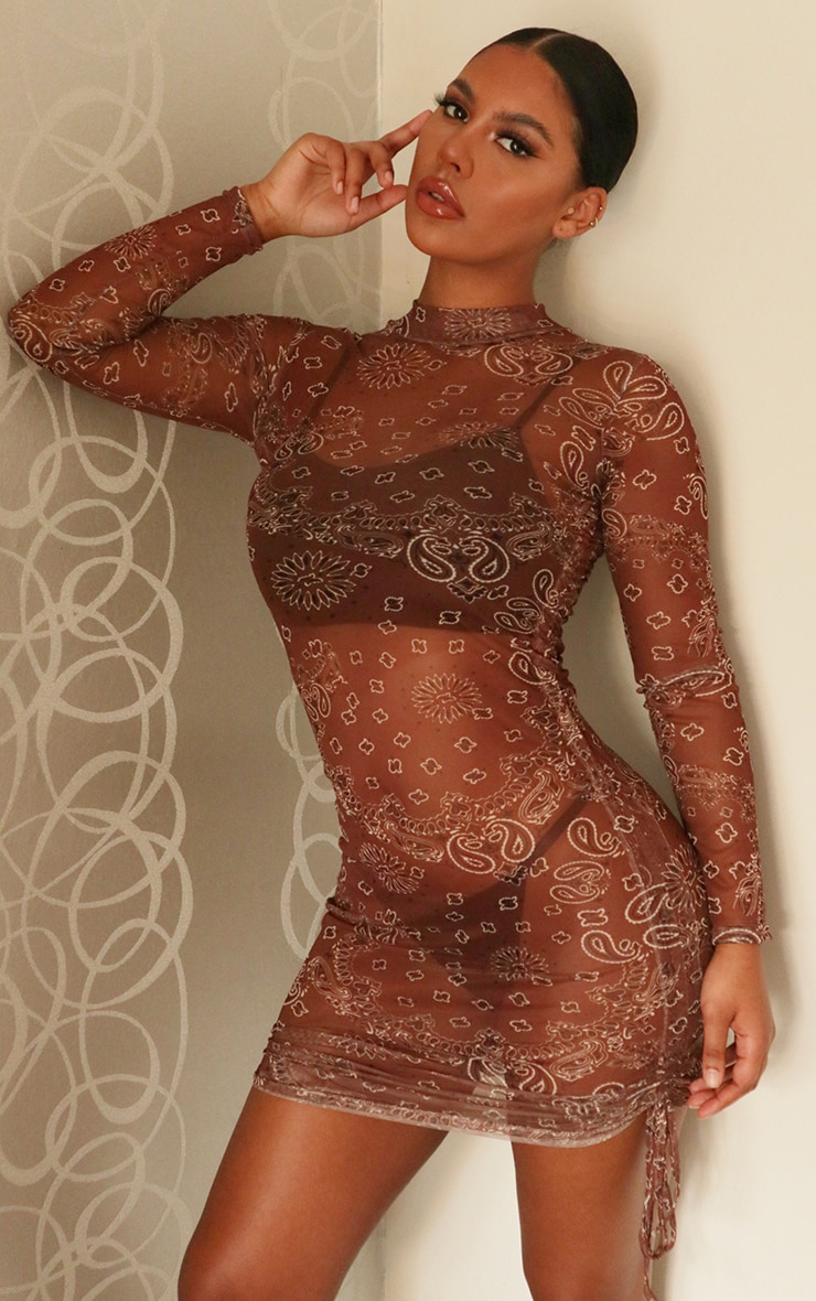 Brown Bandana Print Mesh Ruched Detail Long Sleeve Bodycon Dress 1