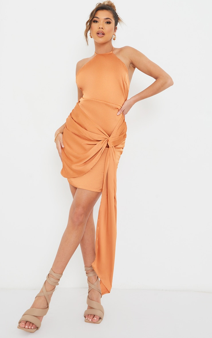 Rust Satin Halterneck Ruched Drape Detail Bodycon Dress 3