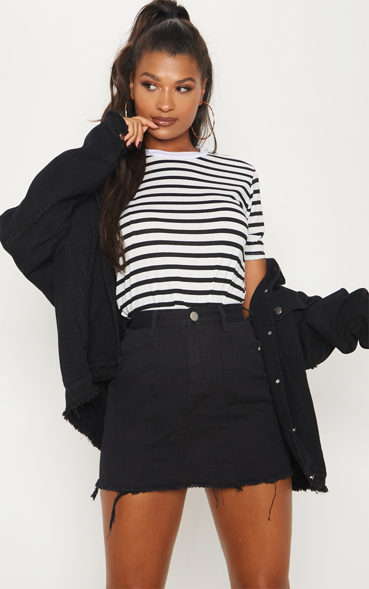 Black Basic Denim Skirt  5