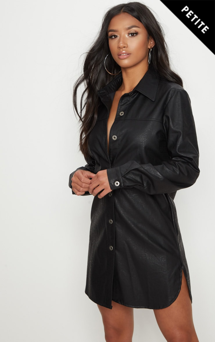 Black PU Shirt Dress 1