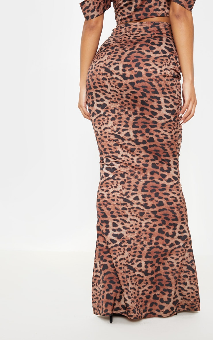 Tan Satin Leopard Print Maxi Skirt 4