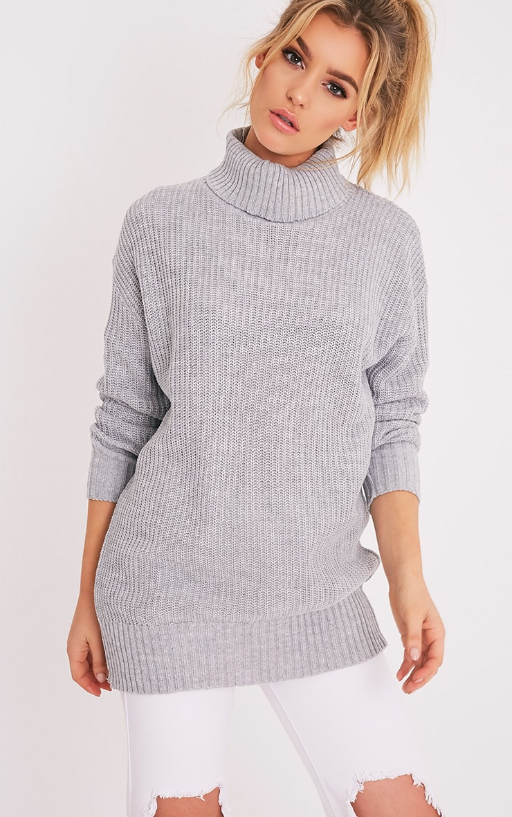 Zora Grey Oversized Turtle Neck Knitted Jumper 1